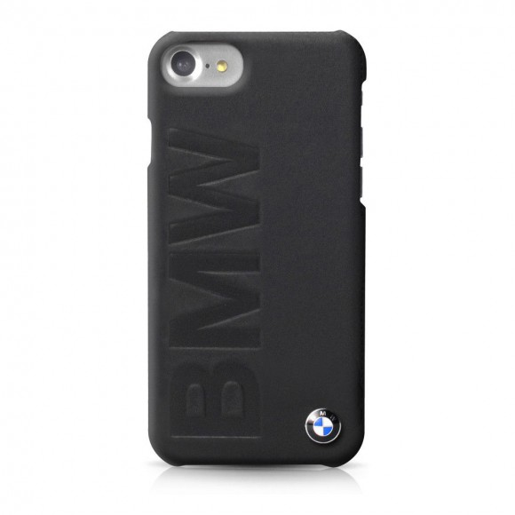 BMW Signature iPhone 7 Hard Case Debossed Logo Black Leather BMHCP7LOB