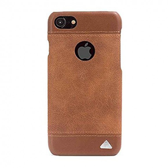Stuffcool Denim Leather Back Case Cover for Apple iPhone 7 - Brown -Tan Brown