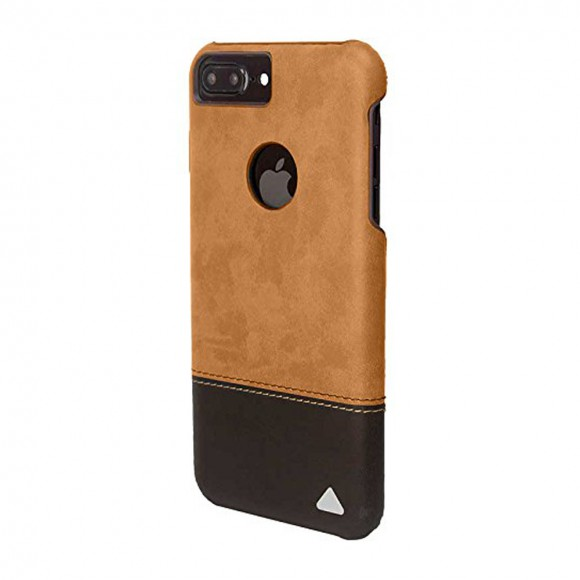 Stuffcool Dual Tone Leather Hard Back Case Cover for Apple iPhone 7 Plus - Light Brown Dark Brown
