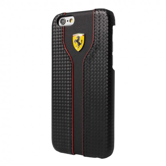 Ferrari FEST2HCP6LBK Racing Carbon Leather Hard Case Black For IPhone 6 Plus