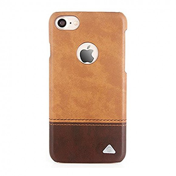 Stuffcool Dual Tone Leather Hard Back Case Cover for Apple iPhone 7 - Light Brown - Dark Brown